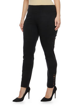 Plus Size Stretch Pants with Caged Ankle - 8441062705704