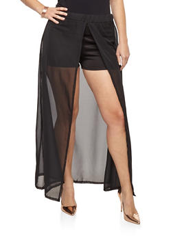 Plus Size Shorts with Maxi Skirt Overlay - 8441074011447