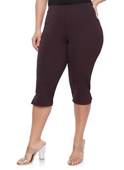 Plus Size Cropped Capri Pants - 8442020621118