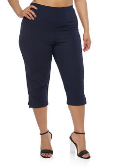 Plus Size Cropped Capri Pants - 8442020621118