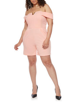 Plus Size Off the Shoulder Romper with Metallic V Accent - DUSTY ROSE - 8443020620014