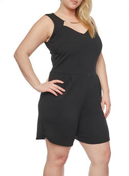 Plus Size Sleeveless Romper with Cutout Metal Collar - BLACK - 8443020620083