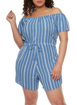 Plus Size Off the Shoulder Striped Romper - BLUE - 8443020621856