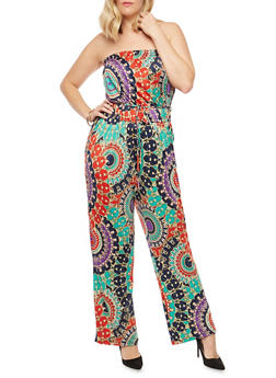 Plus Size Printed Strapless Jumpsuit - 8443020624108