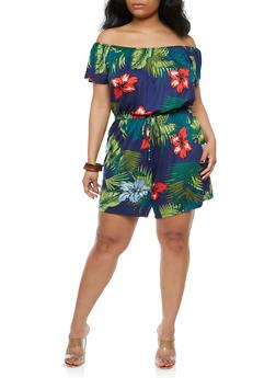 Plus Size Tropical Print Off the Shoulder Romper - 8443020624265