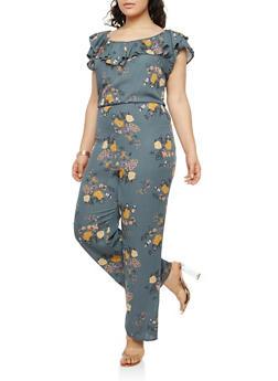 Plus Size Floral Ruffled Jumpsuit - 8443020626238