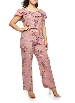 Plus Size Floral Ruffled Jumpsuit - 8443020626238