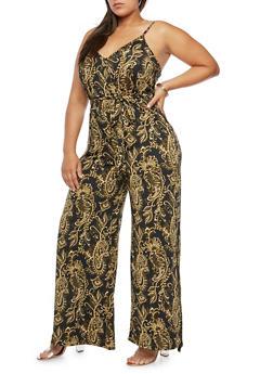 Plus Size Paisley Print Jumpsuit - 8443054264252