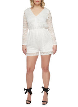 Plus Size Long Bell Sleeve Lace Romper - WHITE - 8443064463449