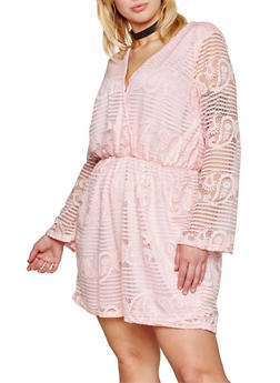 Plus Size Long Bell Sleeve Lace Romper - 8443064463449