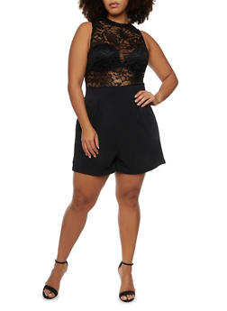 Plus Size Sleeveless Romper with Lace Bodice - BLACK - 8443064463458