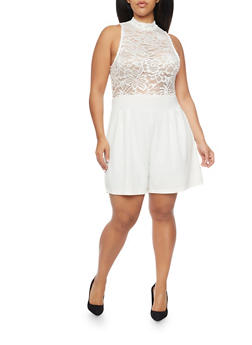 Plus Size Sleeveless Lace Romper - 8443064463458