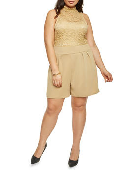 Plus Size Sleeveless Lace Romper - KHAKI - 8443064463458