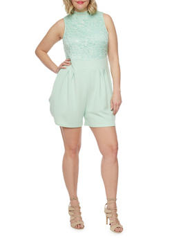 Plus Size Sleeveless Half Lace Romper - MINT - 8443064463459
