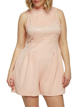 Plus Size Sleeveless Half Lace Romper - 8443064463459
