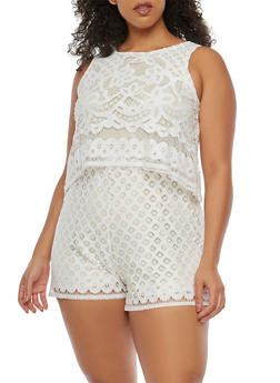 Plus Size Crochet Overlay Romper - 8443064467677