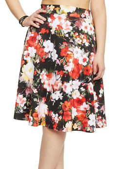 Plus Size Floral Scuba Knit Skater Skirt - 8444020620400