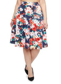 Plus Size Floral Scuba Knit Skater Skirt - 8444020620400