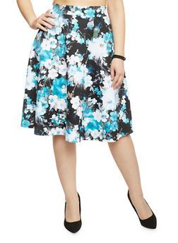 Plus Size Floral Scuba Knit Skater Skirt - TURQUOISE - 8444020620400