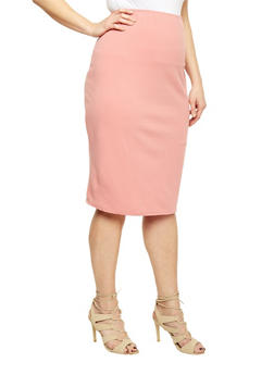 Plus Size Midi Pencil Skirt - 8444020621474
