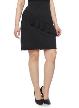 Plus Size Solid Pencil Skirt with Asymmetrical Ruffle - 8444020621644