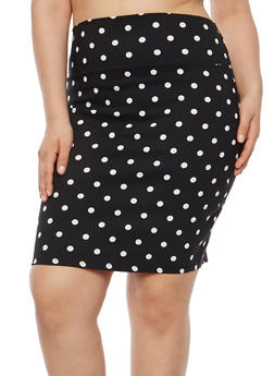 Plus Size Printed Pencil Skirt - BLACK - 8444020622524