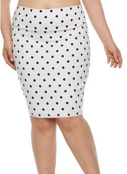 Plus Size Printed Pencil Skirt - WHITE - 8444020622524