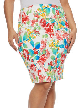 Plus Size Printed Pencil Skirt - LIME - 8444020622524