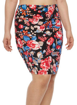 Plus Size Printed Pencil Skirt - 8444020622524