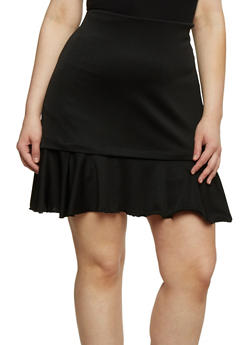 Plus Size Mini Pencil Skirt with Ruffled Hem - 8444020622644