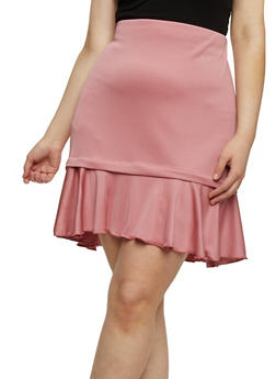 Plus Size Mini Pencil Skirt with Ruffled Hem - 8444020622644