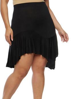 Plus Size Ruffled Asymmetrical Skater Skirt - 8444020622844