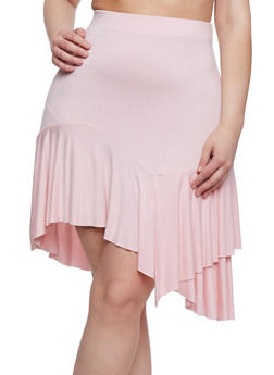 Plus Size Ruffled Asymmetrical Skater Skirt - 8444020622844