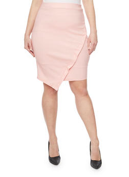 Plus Size Faux Wrap Pencil Skirt - 8444020623214