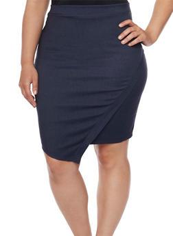Plus Size Faux Wrap Pencil Skirt - 8444020623214