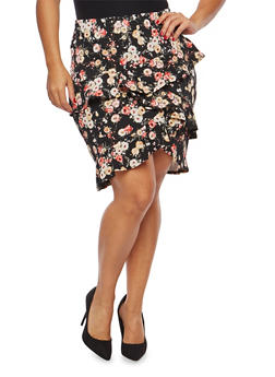 Plus Size Ruffled Floral Pencil Skirt - 8444020623441