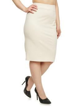 Plus Size Solid Midi Pencil Skirt - IVORY - 8444020623442