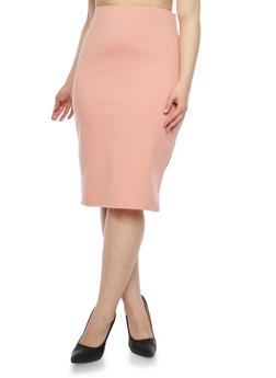 Plus Size Solid Midi Pencil Skirt - 8444020623442