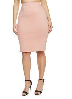 Plus Size Ponte Knit Pencil Skirt - 8444020623544