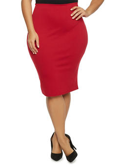 Plus Size Ponte Knit Pencil Skirt - 8444020623544