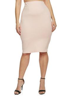 Plus Size Ponte Knit Pencil Skirt - ROSE - 8444020623544