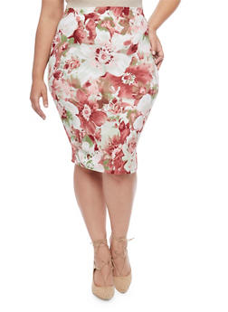 Plus Size Floral Midi Pencil Skirt - 8444020623952