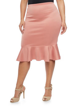 Plus Size Pencil Skirt with Flared Peplum Hem - 8444020624403