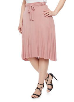 Plus Size Mid Length Swing Skirt with Sash - 8444020624409