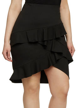 Plus Size Pencil Skirt with Tiered Ruffles - 8444020624423