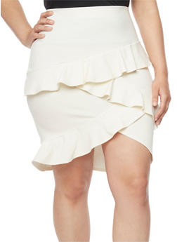Plus Size Pencil Skirt with Tiered Ruffles - WHITE - 8444020624423
