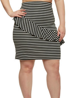 Plus Size Striped Pencil Skirt with Asymmetrical Ruffle - 8444020624441