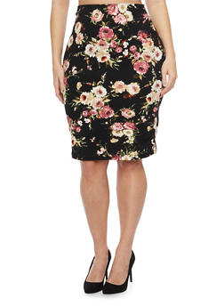Plus Size Pencil Skirt in Floral Print - 8444020624493