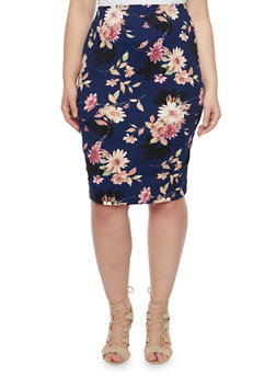 Plus Size Pencil Skirt in Floral Print - NAVY/MAUVE - 8444020624493