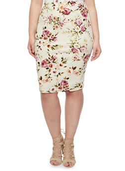 Plus Size Pencil Skirt in Floral Print - DK TAUPE/MAUVE - 8444020624493
